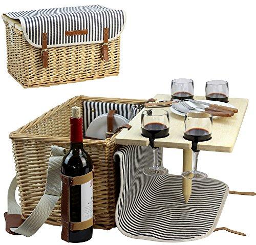HappyPicnic Picknickkorb für 4, 4Personen Picknick-Kit, Weiden-Geschenkkorb Service Geschenk Set mit Bambus Wein Snack Tisch für Camping und Outdoor Party