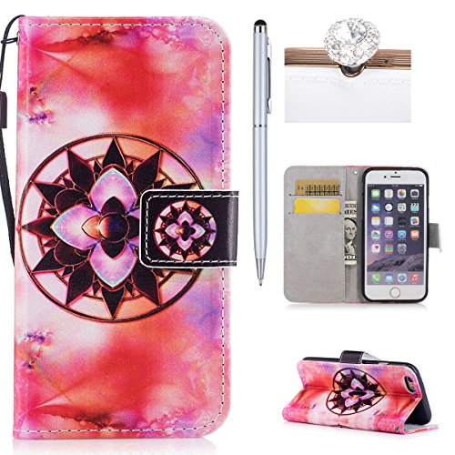 iPhone 6S Plus Hülle,iPhone 6 Plus Case,iPhone 6S Plus Cover - Felfy PU Ledertasche Strap Flip Standfunktion Magnetverschluss Luxe Bookstyle Ledertasche Nette Retro Mode Painted Muster Abdeckung Schut Datura /