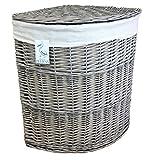 Wäschekorb, mit herausnehmbarem Innenfutter, für die Ecke, Korbgeflecht, gefüttert, groß, gebogen, Grau