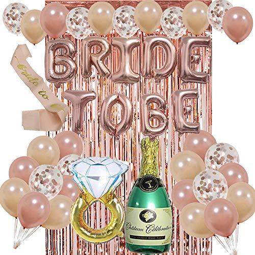 Bride To Be Balloon Folienballons Luftballons Set, Junggesellenabschied Dekoration Set, Champagner Roségold Diamant Ring Latex Ballon Set, Brautparty Party Dekoration Lieferungen - Diamant-hochzeit Gold Ring-sätze