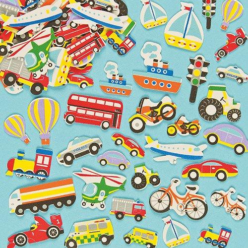 Schaumstoff Aufkleber – Fahrzeuge für Kinder zum Verzieren von Karten und Bastelprojekten – 108 Stück