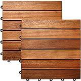 Deuba 33x Holzfliesen Akazie | 3m² Fliese 30x30 cm Stecksystem Mosaik | Zuschneidbar Terrasse Balkon Holzboden Klick