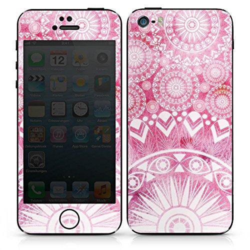 Apple iPhone SE Case Skin Sticker aus Vinyl-Folie Aufkleber Mandala Pink Vintage DesignSkins® glänzend