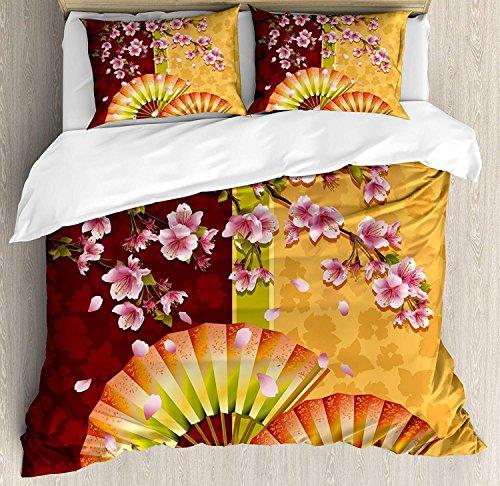 3-teiliges Bettwäscheset mit Blumenmuster, Sakura-Blüten mit japanischen Handfächerfiguren Authentisches asiatisches Design, 3-tlg. Tröster- / Qulitbezug-Set mit 2 Kissenbezügen, Ringelblumenbaby Pin -