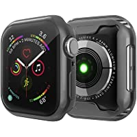 TASLAR Soft Flexible TPU Lightweight Protective Full Case Cover Screen Protector Compatible with Apple Watch iWatch Series 5 / Series 4 44mm (Black)