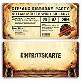Individuelle Einladungskarten zum Geburtstag (40 Stück) als Eintrittskarte im Vintage-Look Ticket Karte Einladung