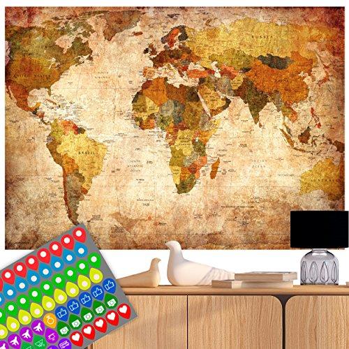 Laminiert Atlas (decomonkey   Weltkarte Vintage Poster Wanbild Retro XXL WorldmapINKL. AUFKLEBERSET (74 STK.) Zweiseitig 140x100 cm beidseitig Bedruckt & laminiert- 2 Antike Weltkarten Welt Atlas Kontinente)