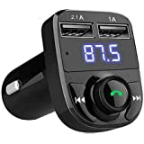 JSTBUY LABEL Hands-Free Wireless Bluetooth FM Transmitter 2.1 A Dual USB Port which Supports TF Card and U Disk Car…