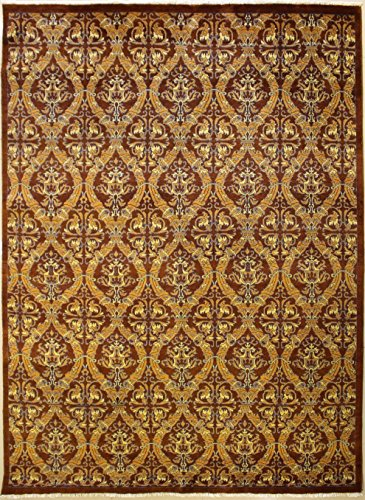 RugsTC 234 x 300 Chobi Ziegler Area Rug Made Using Vegetable Dyes with Wool Pile Hand-Knotted in Brown,Gold,Grey Colors | a 244 x 305 Rectangular Double Knot Rug -
