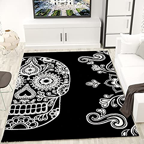 Modern Rug Living Room, in the colors black and white with skull – VIMODA 60 x 100 cm
