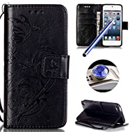 Etsue Butterfly Wallet Case for Apple iPod Touch 5/6,Retro Elegant Pressed Flower Floral Butterfly Folio Pu Leather Strap/Rope Magnetic Closure Flip Wallet Protective Case Cover with Stand and Card Holder for Apple iPod Touch 5/6 +Blue Stylus Pen+Bling Glitter Diamond Dust Plug(Colors Random)-Black
