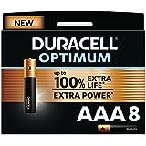 Duracell NEW Optimum AAA Alkaline Batteries [Pack of 8], 1.5 V LR03 MX2400