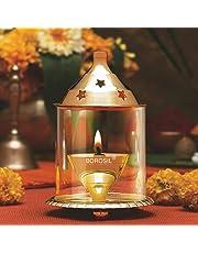 Borosil Akhand Diya (Small, Brass)