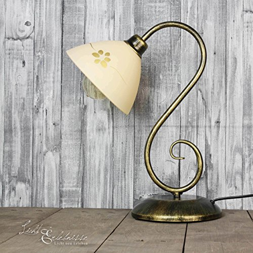 Rustikale Stehleuchte 1xE27 Esszimmer, Wohnzimmer Tischleuchten Rustikale Lampen Floraler Stil Stehlampe innen Beleuchtung