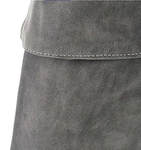 Beauqueen Matte PU über Knie High Winter Stiefel Mandel geformt Zeh Stilett High Heel Party Casual Warm Feminine Reißverschluss Stiefel Customized Europa Größe 34-47 gray (matte)