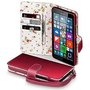 Microsoft 640 XL Cover, Terrapin Étui Housse en Cuir pour Microsoft Lumia 640 XL Coque Cuir - Rouge (Fleur à l'intérieur)