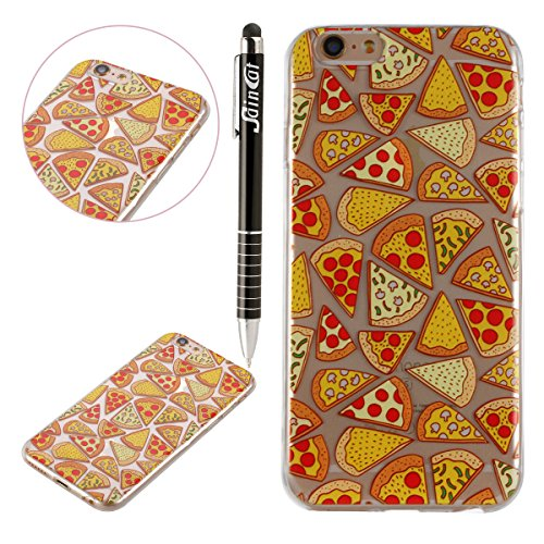 Custodia iPhone 6, iPhone 6S Cover Silicone, SainCat Cover per iPhone 6/6S Custodia Silicone Morbido, 3D Design Ultra Slim Transparent Silicone Case Ultra Sottile Morbida Transparent TPU Gel Cover Cas Pizza