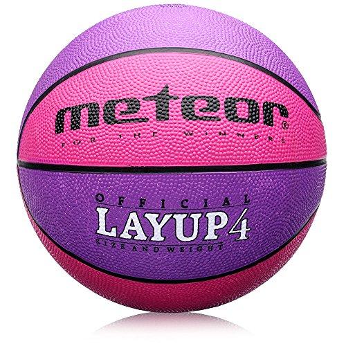 meteor Kinder Jugend Basketball Layup - Größe #4 Basketball Ideal auf die Kinderhände 5-10 Jahre Idealer Mini Basketball für Ausbildung - Weicher Kinder Basketball Outdoor mit griffiger Oberfläche
