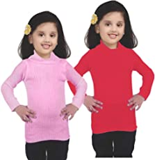 MADHAVA Striped Stretchable Woven Turtle Neck Casual Girls/Boys Skivi (S-26)