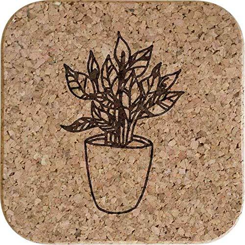 Azeeda 4 x 'Friedenslilie Pflanze' 10cm Quadratische Korkuntersetzer (CR00156337)