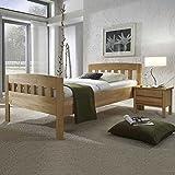 Pharao24 Komfortbett aus Kernbuche Massivholz mit Nachttisch Breite 96 cm Tiefe 205 cm Liegefläche 90x200