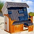 Strandkorb Ostsee AGB XXL, Bezug anthrazit-grau-blau gestreift fertig montiert, LILIMO ® von LILIMO ® - Gartenmöbel von Du und Dein Garten