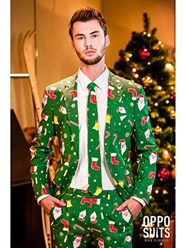 Mens Verrückt Suits (Opposuit Anzug Santaboss Fasching Karneval Kostüm Weihnachtsmann)