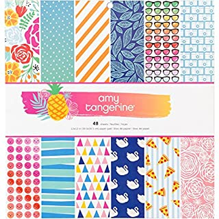 American Crafts Single-Sided Paper Pad, Multi-Colour, 1.09 x 32.76 x 30.48 cm