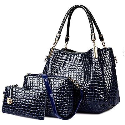 Coofit Sac a main femme Crocodile pattern 3PCS Sac Femme en travail/voyage/shopping/rendez-vous Sac bandoulièr/cabas/fourre tout/besace femme