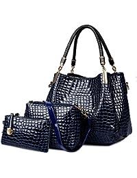 Crocodile Femmes sac en cuir Set Mesdames Hobo Sac bandoulière et Sac à main Vin