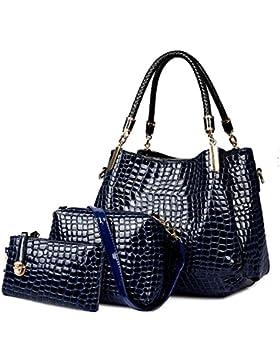 Coofit Damen Handtasche, Lackleder Tasche mit Alligator Muster, 3-teiliges Set mit Crossbody Tasche und Geldbeutel