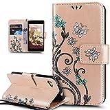 Kompatibel mit Sony Xperia Z5 Compact Hülle,Bunte Gemalt Prägung Schmetterlings Blumen Muster PU Lederhülle Flip Hülle Cover Ständer Etui Wallet Tasche Case Schutzhülle für Sony Xperia Z5 Compact,Gold