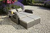 greemotion Rattan-Lounge Bahia Rondo, Sofa & Bett aus Polyrattan, indoor & outdoor, 2er Garten-Sofa mit Stahl-Gestell, Daybed, braun-beige - 5