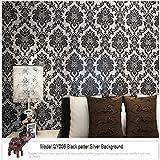 Qihang Papel pintado, diseño vintage de damasco,color blanco y negro, 0,53m x 10m = 5,3m2