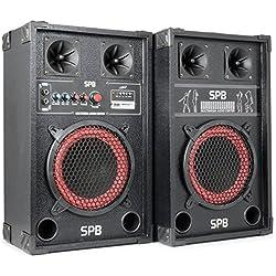 Skytec SPB-8 Pack Enceintes Amplifiées • Puissance maximale de 400 W • Haut-parleur BassReflex • Entrées USB et SD • Lecture MP3 • Connexion Bluetooth • Entrée RCA • Poignées de transport