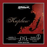 Cuerda individual Mi para violín con terminación de lazo Kaplan de D'Addario, serie Golden Spiral Solo, escala 4/4, tensión m