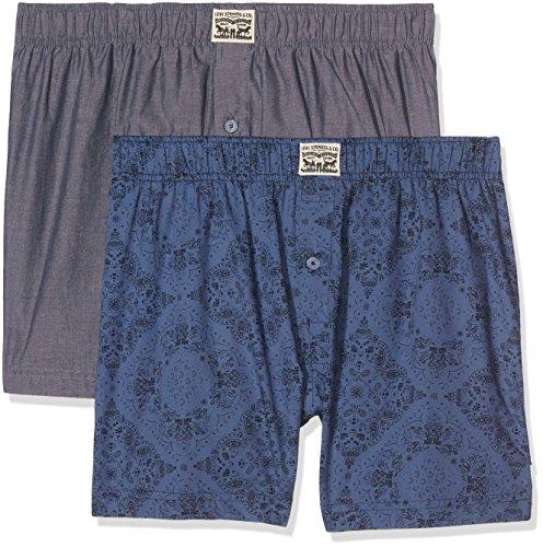 Levi's Herren Boxershorts Levis 300LS Bandana Print Woven Boxer 2P, 2er Pack, Blau (Blue Indigo 979), Large (Woven Shorts Bequeme)