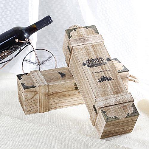 NSHK 2 Stück Retro Wein Holzkiste Einzelne Flasche Paulownia Wein Fall Reise Lagerung Weinträger...