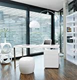 SalesFever Schreibtisch inkl. Container 3 Schubladen weiß Hochglanz White Line B 180 x T 85 cm