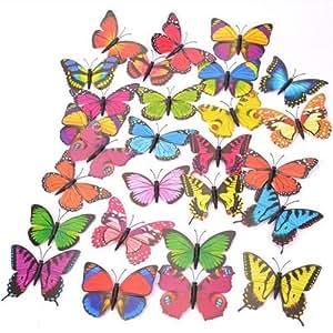 Michael Dark Lot de 12 grands papillons aimantés décoratifs Assortiment de couleurs