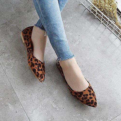 LvYuan-mxx Chaussures plates pour femmes / Printemps été automne / Décontracté / Suède léopard / talons plats pointu orteil / Bureau et carrière Robe / bouche superficielle chaussures BROWN-39