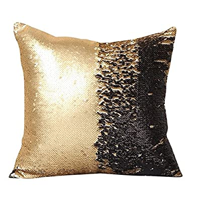 "SNUG STAR Two-color Decorative Pillow Case Square Sequins Mermaid Cushion Covers 16 X 16"" - low-cost UK light shop."