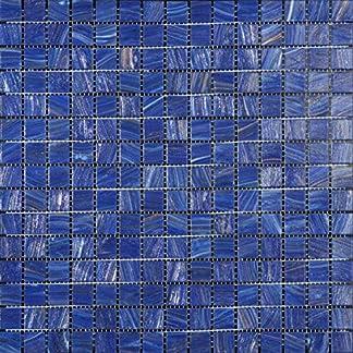 Mosaico de Vidrio en Malla DEC-74291AXU005, Azul, 4 mm, 32.7 x 32.7 cm, Set de 10 Piezas