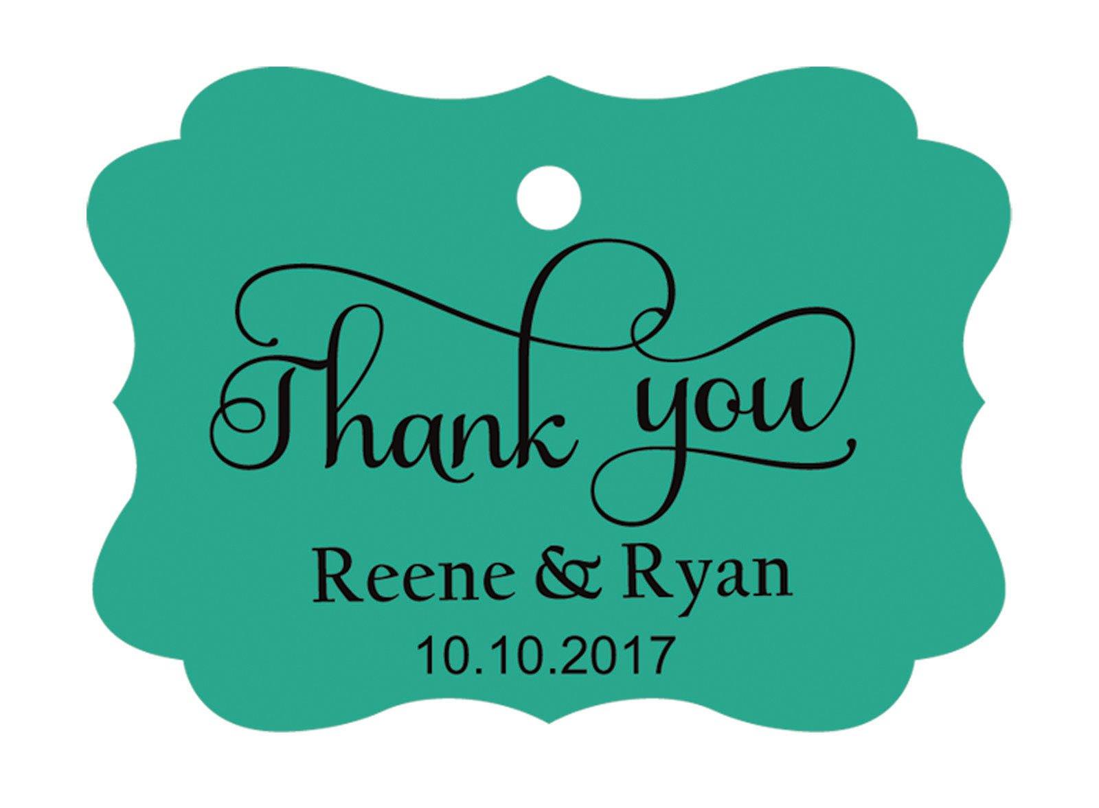 100pcs Thank You custom made cartellini personalizzato matrimonio carta regalo Tag Green