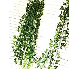 Idea Regalo - ShineCozy falso pianta artificiale edera–12confezione da 25,6m ghirlanda finta edera appeso vite fogliame verde lascia pianta esterno parete decorazione per festa di nozze
