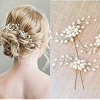 Veewon 2pcs Fashion Retro Elegant Ladies Pearl Rhinestone Hair Clip Wedding Bridal Jewelry Bridal Hair Accessories Headpiece Wedding Accessories
