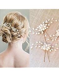 Veewon 2pcs Art und Weise Retro Elegante Damen Perlenrhinestone Haarclip Hochzeit Brautschmuck Braut Haar Zubehör Kopfstück Hochzeit Zubehör