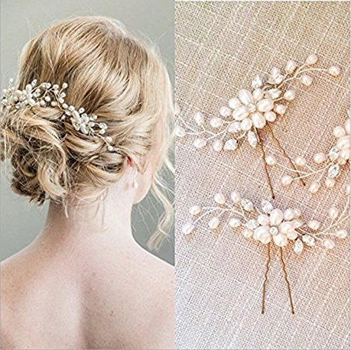 Veewon 2pcs Fashion Retro Elegant Ladies Pearl Rhinestone Hair Clip Wedding Bridal Jewelry Bridal Hair Accessories Headpiece Wedding Accessories