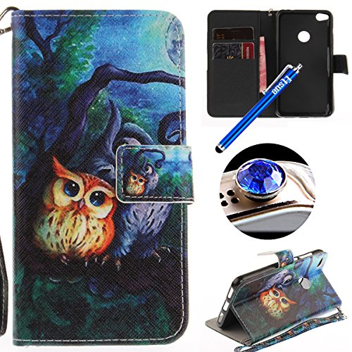Etsue Huawei P8 Lite 2017 Wallet Case, Huawei P8 Lite 2017 Leather Case with Cute Design Flower Pattern Wallet Flip Case Cover with Stand Book Type Magnetic Closure for Huawei P8 Lite 2017+Blue Stylus Pen+Bling Glitter Diamond Dust Plug(Colors Random)-Cute Owl Test