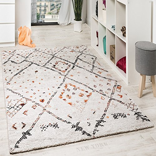 Paco home tappeto moderno di design tappeto stile nomade motivo a quadri mélange crema arancione, dimensione:80x150 cm